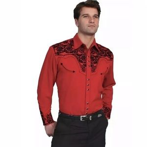 Scully Shirt Western Red Floral Tooled Stitch
